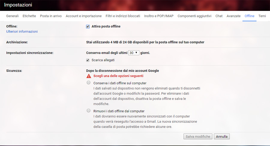 Modalità offline Gmail