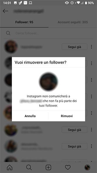 Come rimuovere follower Instagram dall'account