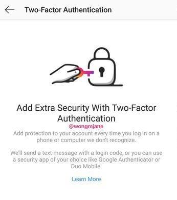 Meccanismo di verifica in due passaggi via SMS su Instagram