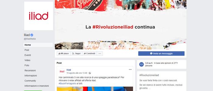 Pagina Facebook per parlare con un operatore Iliad