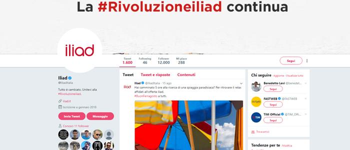 Pagina Twitter per parlare con un operatore Iliad