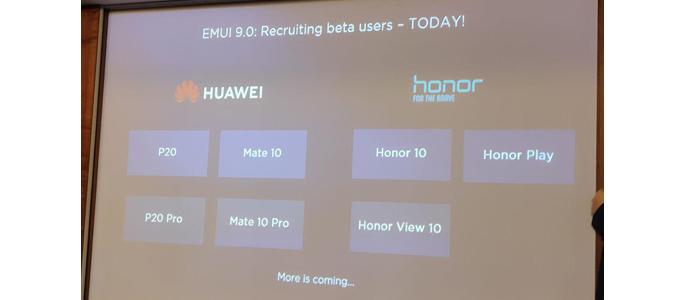 Slide smartphone Huawei ed Honor per l'aggiornamento EMUI 9 dall'IFA di Berlino