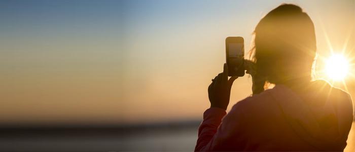 Smartphone luce del sole