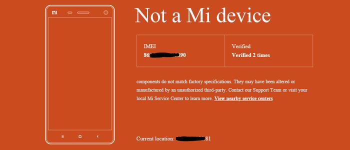 Smartphone Xiaomi contraffatto